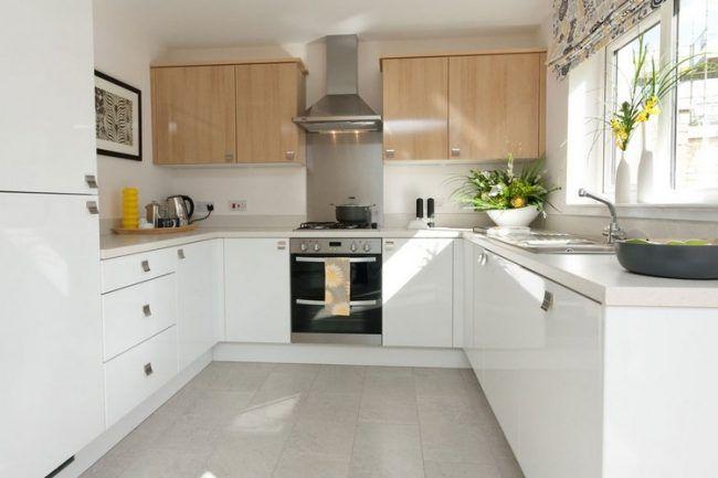 Bodenbelag für Küche kompakt-bodenfliesen-grau-herd-dunstabzugshaube-edelstahl