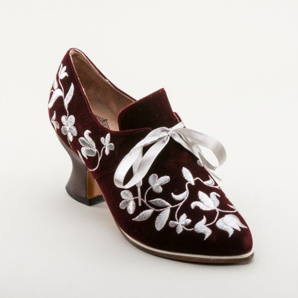 EXCLUSIVE! Louis Velveteen and Silver Court Shoes (Wine) by American Duchess - PRE ORDER ONLY May 5 - 19, 2017