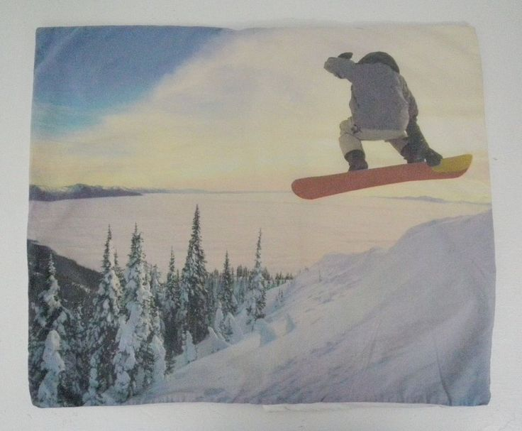 Pottery Barn Teen Snowboard Pillowcase Sham Single Standard Bedding Real Photo #PotteryBarnTeen #PBteen #potterybarn #snowboarder #snowboard #pillowcase #pillowsham #bedding #bedroom