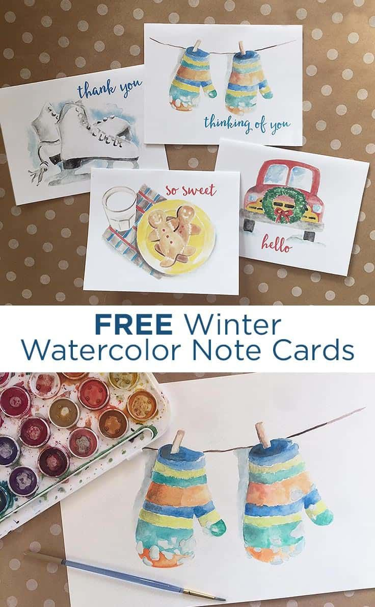 FREE Winter Watercolor Note Cards