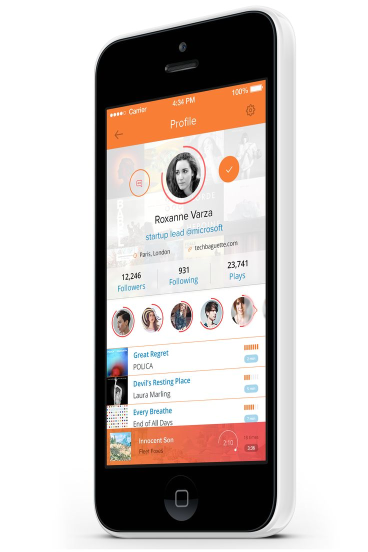 Music App - light profile by Ehsan Rahimi on http://dribbble.com/shots/1612607-Music-App-light-profile #ui #ux #design #dribbble