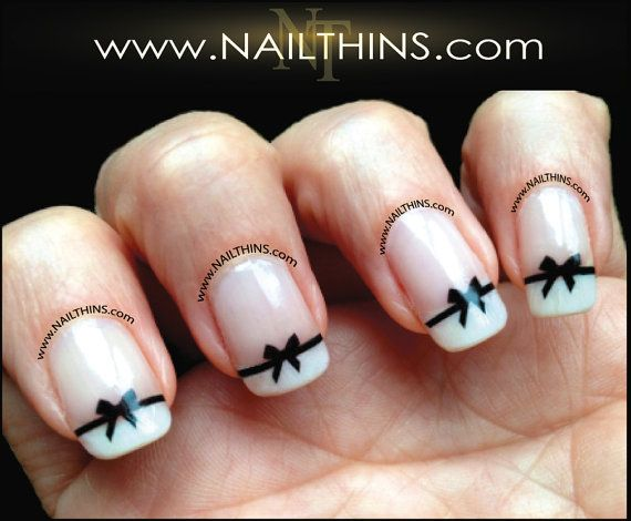 Hey, I found this really awesome Etsy listing at https://www.etsy.com/listing/169658005/black-bow-nail-decals-bow-nail-design