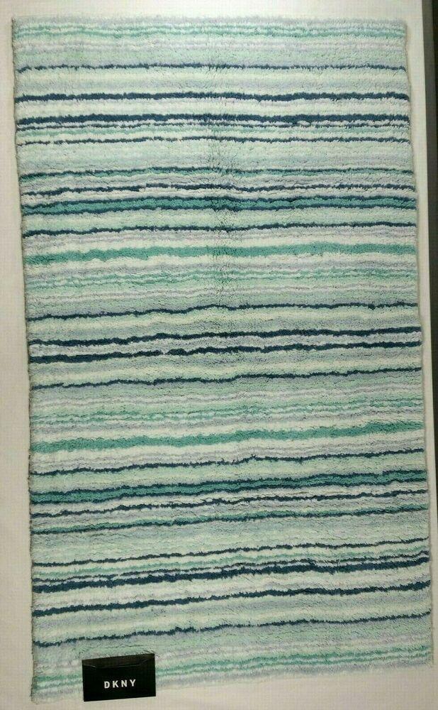 Details About Dkny Bath Mat Rug Stripe 26 X 45 Blue Aqua