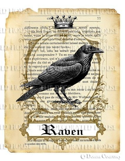 DIGITAL HALLOWEEN RAVEN PRINT DOWNLOAD KING by TheDecoratedHouse. , via Etsy.