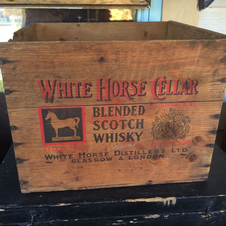 Antique White Horse Celler Blended Scotch Whisky Wood Crate Box, White Horse Distillers LTD, Glasgow & London by PaintedLadyAntiques on Etsy