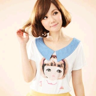 YESSTYLE: CatWorld- Denim-Collar Girl-Print Top (Off-White - One Size) - Free International Shipping on orders over $150