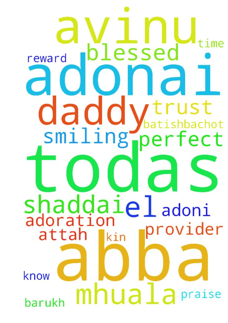 AVINU ABBA . TODAS Father Daddy Thank you !!! . For - AVINU ABBA . TODAS Father Daddy Thank you . For your reward. .. I know your the provider You are El SHADDAI.. i am smiling I trust you in all . Your time is the most perfect ..you are ADONI ADONAI, Blessed are you, Lord kin to the praise in adoration. Barukh attah, Adonai, mhuala batishbachot.  Posted at: https://prayerrequest.com/t/Kk7 #pray #prayer #request #prayerrequest