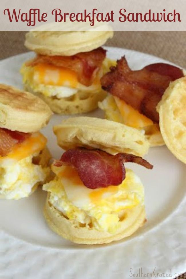 ...have you ever thought about using waffles instead of biscuits? Check out this easy recipe for a Waffle Breakfast Sandwich! Same egg and bacon, but...