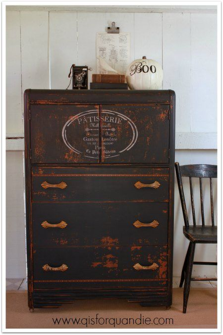 Waterfall dresser with stencil and black paint