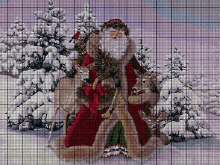 Cross-stitch Santa Claus with Deers, part 1..  color charts on part 2 & 3...   Gallery.ru / Фото #2 - 1 - kento