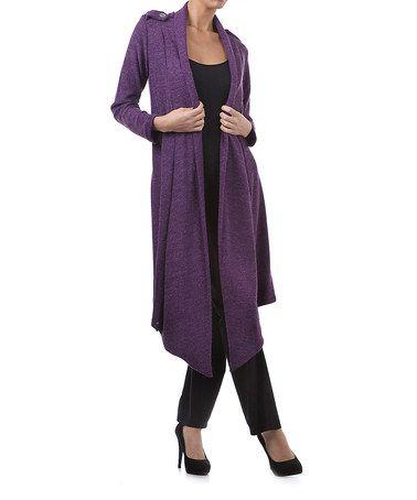 Loving this Heather Purple Angora-Blend Duster - Women on #zulily! #zulilyfinds
