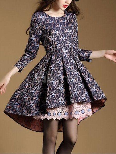 Attrayante robe skater mode en spandex bleu impression devant court et derrière long imprimé fleuri col rond - Milanoo.com