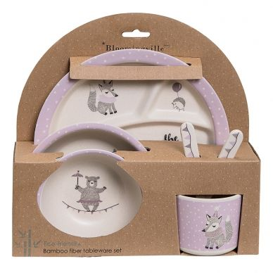 "Bloomingville Geschirr- Set ""Join The Circus"" Offwhite/Light Purple 6er-Set"