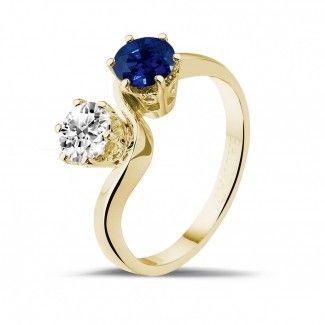- Toi et moi - ring in geel goud met ronde saffier en ronde diamant