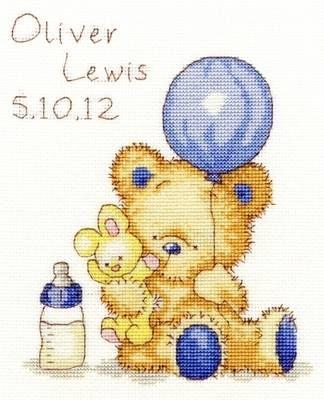 Huggles Balloon baby boy birth sampler cross stitch kit
