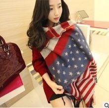 Новый американский флаг осень и зимняя густой щеткой кашемира шарф платок пятиконечная звезда англии мужчин и женщин шарфы(China (Mainland))