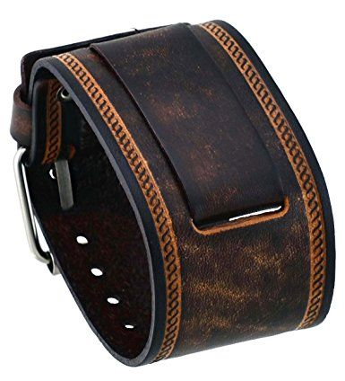 Nemesis #IN-BS Wide Brown Leather Cuff Wrist Watch Band
