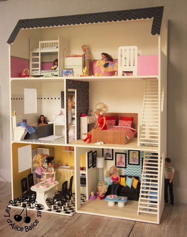 17 meilleures id es propos de maison de barbie sur pinterest plans de maison de poup e. Black Bedroom Furniture Sets. Home Design Ideas