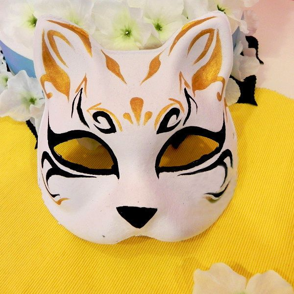 Half Face Hand-Painted Japanese Fox Mask Kitsune Cosplay Masquerade Halloween #Unbranded
