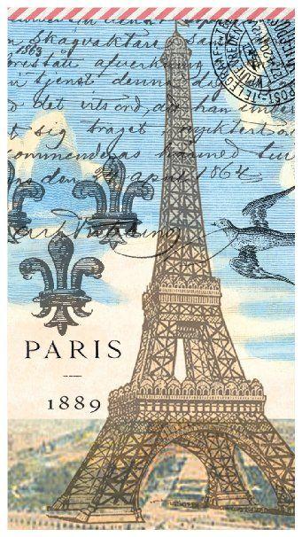Michel Design Works 15-Count 3-Ply Paper Hostess Napkins, Paris
