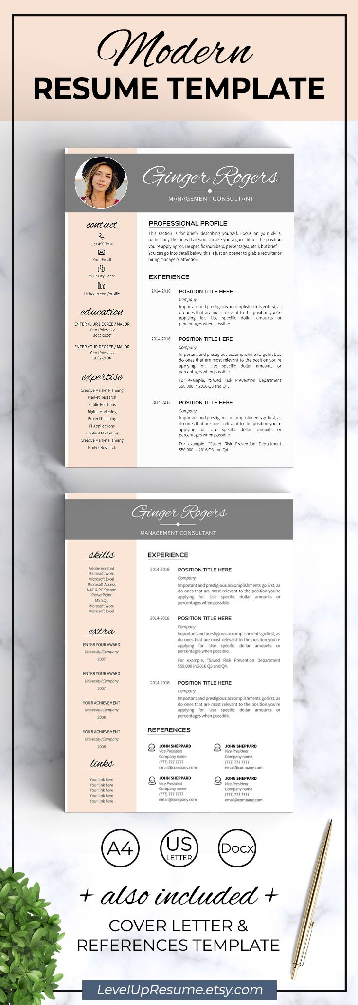 Modern resume template. Professional resume design. Career advice. Job search. Get hired!  Click on the link or save the pin to your board >>>>> #career #career advice #job #jobsearch #resume #resumetemplate   . Resume template instant download - Feminine resume templates word