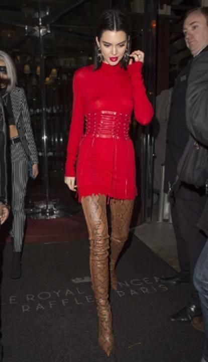 Yay or Nay? The red dress with thigh-high boots that Kedall Jenner is wearing