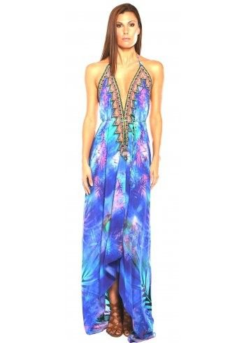 Parides Blue 3 Ways To Style Dress in Palm at Pesca Boutique. This Parides Amazonia dress gives you three very different looks in one by simply tying in different ways. - Price: $341.00