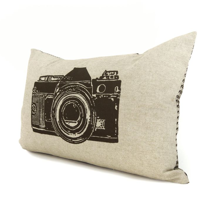 Camera pillow cover, Decorative pillow for couch, 12x18 lumbar pillow cover - Brown camera print on natural beige canvas & houndstooth back. $34.00, via Etsy.