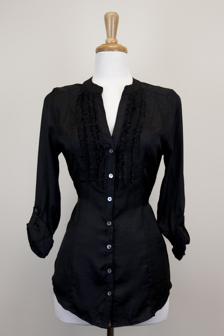 Dressing Your Truth - Type 4 Audrey Top. Tunic style with tuxedo ruffles.