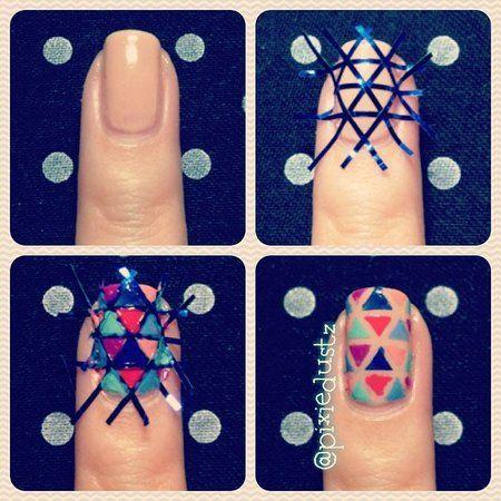 Criss-cross nail tape! Fun bright nail look!