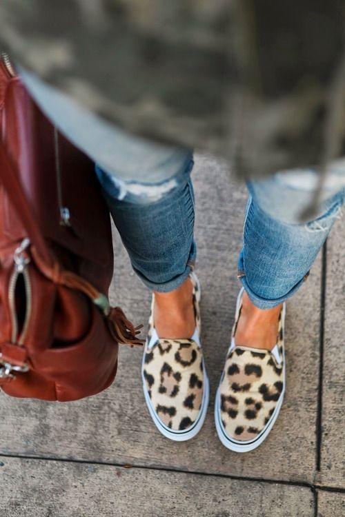 Leopard slip-ons