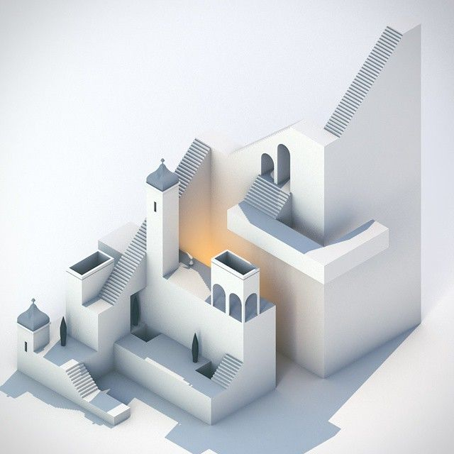 [11/25] An ode to Monument Valley's beautiful game design #c4d #cinema4d #3d #render #everyday #arch - ercercercerc