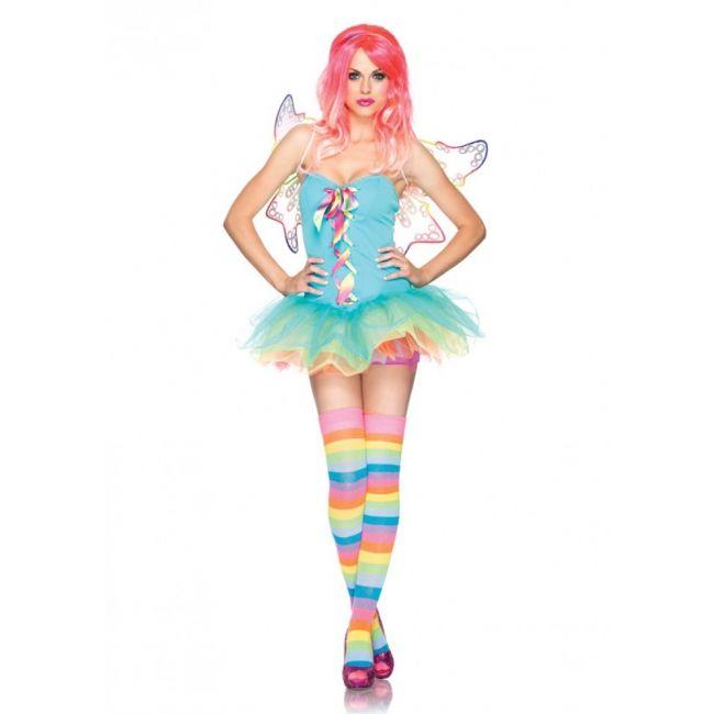 Regenboog fee kostuum voor dames. Regenboog fairy kostuum. Het fee kostuum bestaat uit de tutu jurk met vetersluiting aan de voorzijde, transparante bandjes en haarband. Luxe kwaliteit. Carnavalskleding 2015 #carnaval