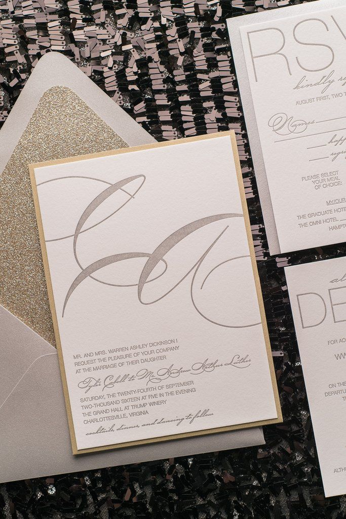 Cheap Wedding Invitations Packages: JESSICA Suite Panel Package, Letterpress, Silver And Gold