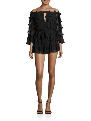 ALICE MCCALL Pastime Paradise Off-the-Shoulder3D Flower Romper. #alicemccall #cloth #romper