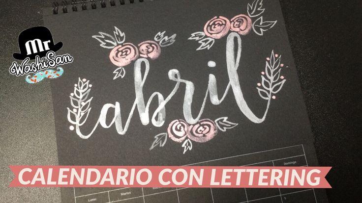 Calendario con lettering  Abril - con pincel y acuarelas finetec