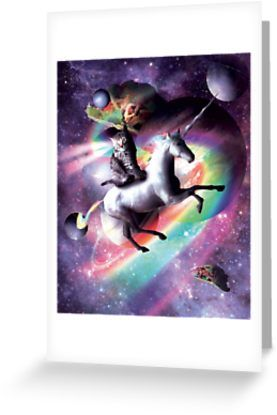 Space Cat Riding Unicorn Laser Tacos And Rainbow Greeting Card