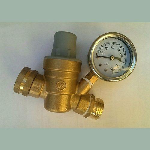 RV Brass Water Pressure Regulator Reducer with Gauge  #Trumeters