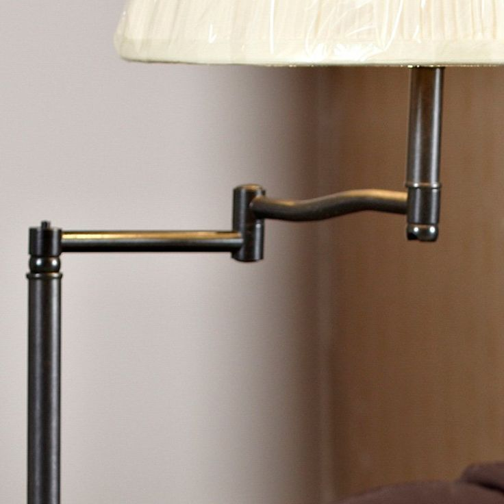 Chairside Oak End Table with Swing Arm Lamp - End Tables at Hayneedle