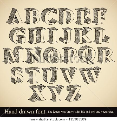Hand drawn 3d font, vector alphabet vintage style. by Goldenarts, via Shutterstock