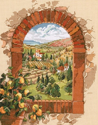 """Counted Cross Stitch - Dreaming Of Tuscany Counted Cross Stitch Kit - 11""""X14"""" 14 Count"""