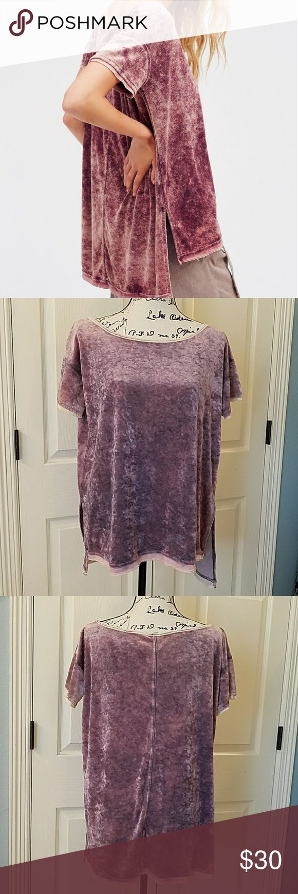 Free People Doran Tee EUC Super cute washed velvet tee in perple.  Longer in back than front.  Bateau neckline.  Super soft.  Only worn once.  A little big on me.  I have replaced with xs.   Like new.  No flaws. Free People Tops Tees - Short Sleeve