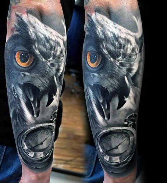 Forearm Realistic Owl With Pocket Watch Tattoo Designs For Men