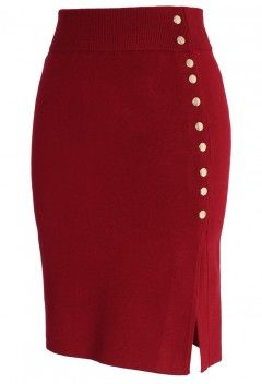 Studs Knitted Pencil Skirt in Wine - Bottoms - Retro, Indie and Unique Fashion...i need this in my closet!