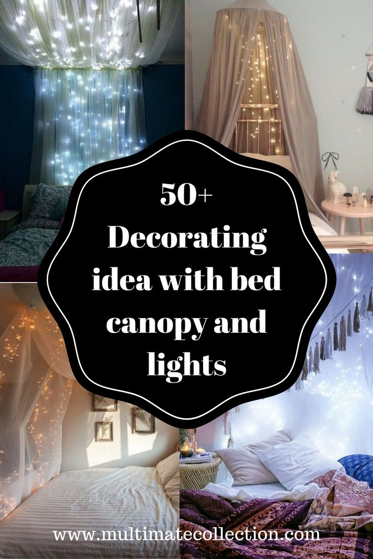 Marvelous 50+ Bedroom Decorating Idea With Tapestry, Canopy And Lights Part 19