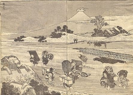 Mt Fuji with a Hat by Hokusai
