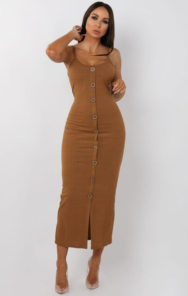 Brown Ribbed Knit Button Detail Maxi Dress Kaitlyn SM