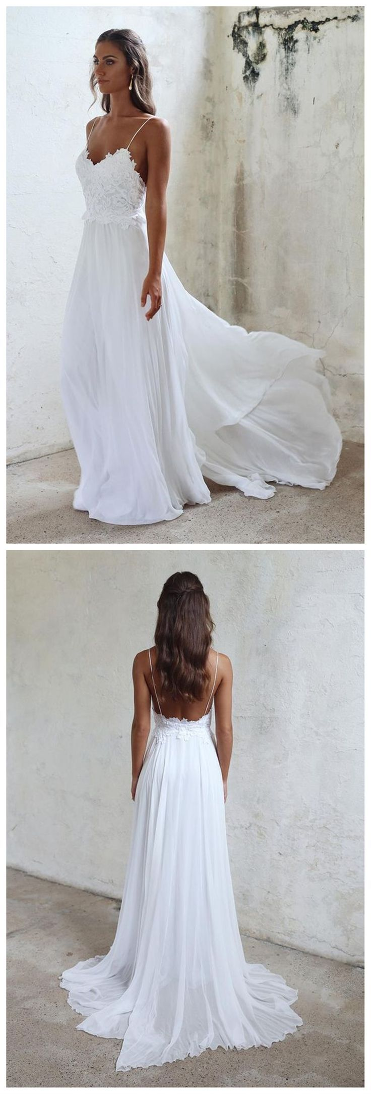 Beach Sexy Simple Spaghetti White Lace Side Slit Wedding Dresses For Beach Wedding, WD0047 #bridesmaid #wedding #bridesmaiddresses #cheapbridesmaiddresses #weddingidea