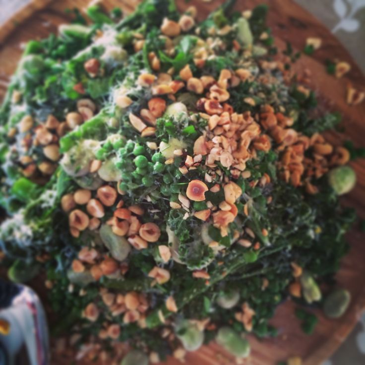 spring greens with toasted hazelnuts and pecorino