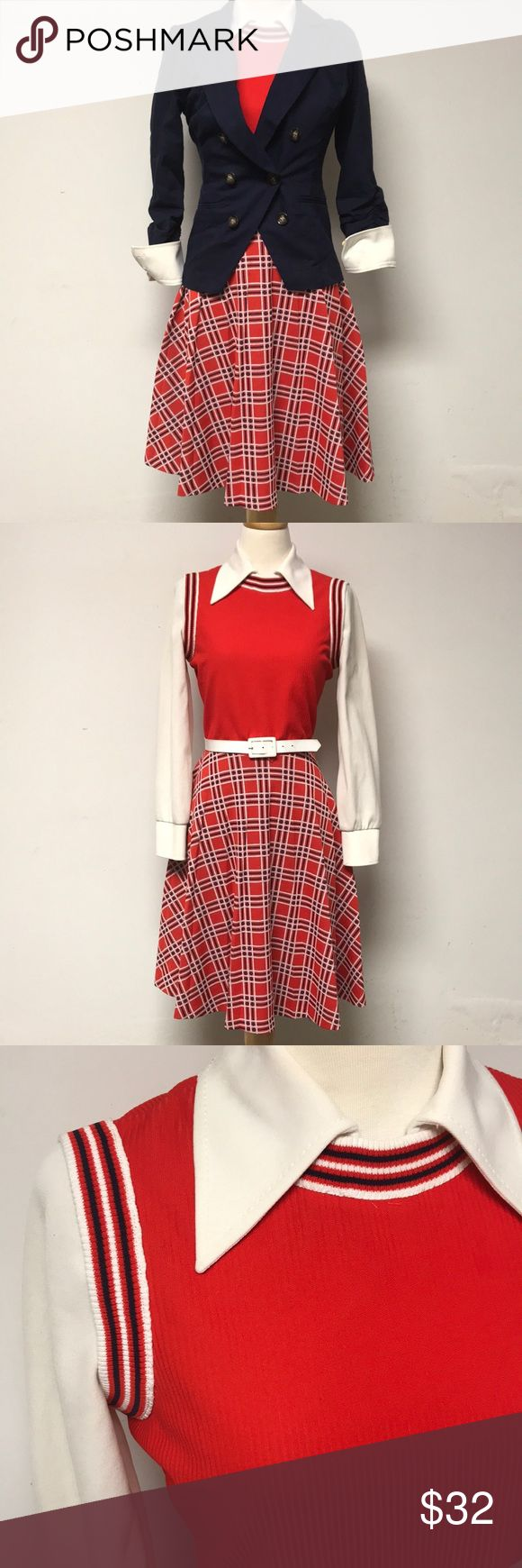1960s Plaid Secretary/ schoolgirl  Day Dress Fun 1960s orange,navy, off white plaid 100% polyester *le sigh* schoolgirl inspired secretary dress. Channel your inner Mary Tyler Moore. There are some stains throughout the dress including some good old fashioned ring around the collar. Once the collar is folded not noticeable. Girls just wanna have FUN! This dress fits a small best. Measurements taken flat and zipped: Bust: 16 1/2 inches Waist: 13 inches Skirt: open *Navy Blazer sold separately…